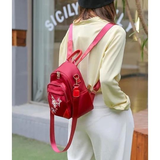 mini rucsac rosu material textil dama