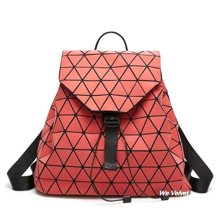 rucsac geometric rosu piele eco