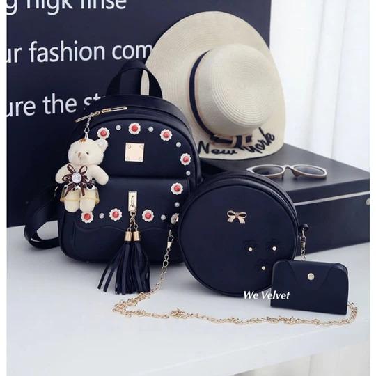 set rucsac negru cu mini portofel
