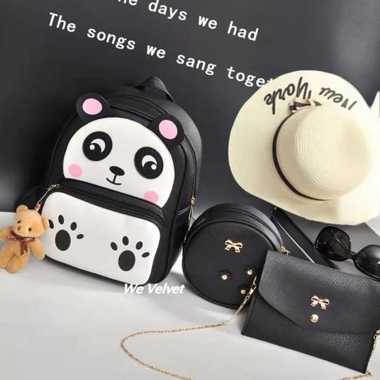 set rucsac negru cu poseta si portofel panda