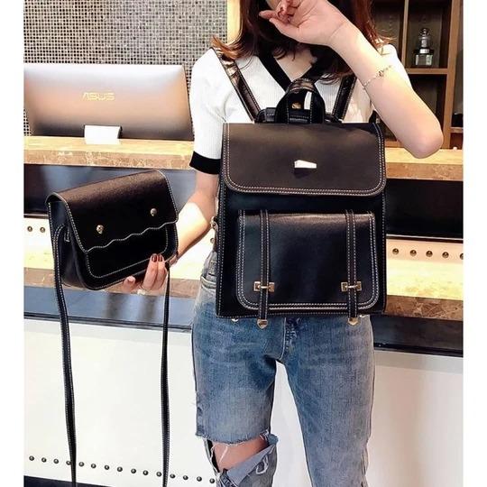 set rucsac negru tip geanta cu poseta